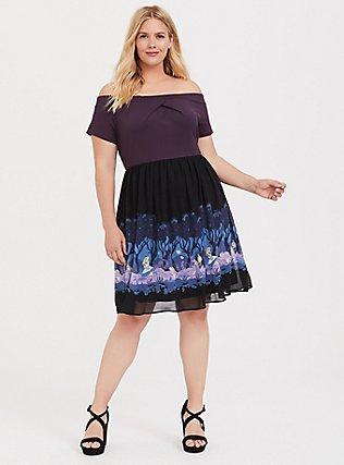 Her Universe Disney Alice In Wonderland Knit-to-Woven Off Shoulder Dress, MULTI, hi-res