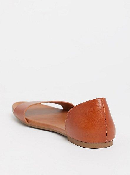 Cognac Faux Leather D'Orsay Open Toe Flat (WW), COGNAC, alternate