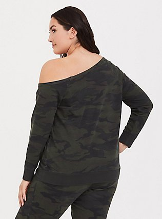Plus Size Camo Off Shoulder Sweatshirt, CAMO, alternate