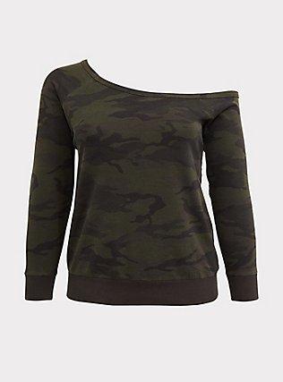 Plus Size Camo Off Shoulder Sweatshirt, CAMO, flat