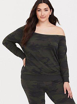 Plus Size Camo Off Shoulder Sweatshirt, CAMO, hi-res