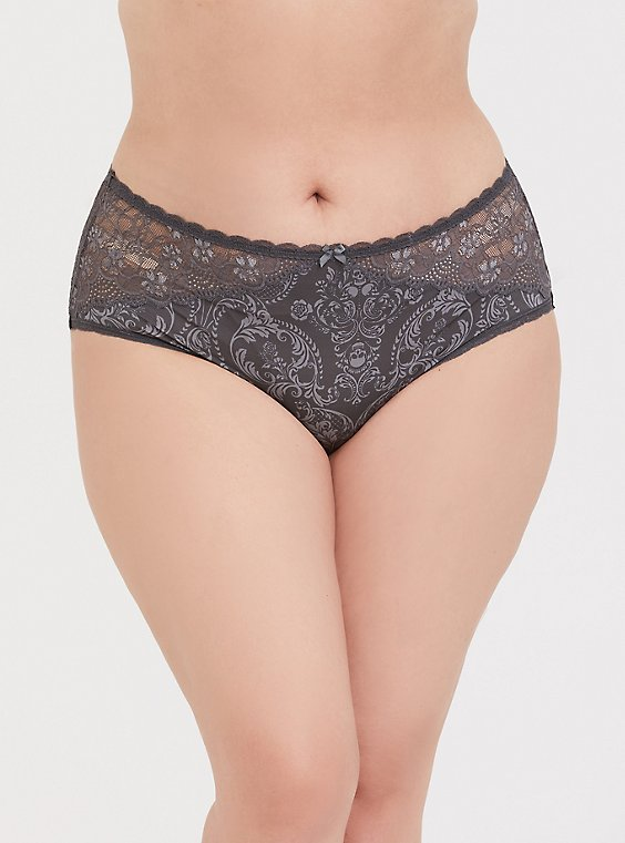 Dark Grey Skull Microfiber & Lace Cheeky Panty, , hi-res