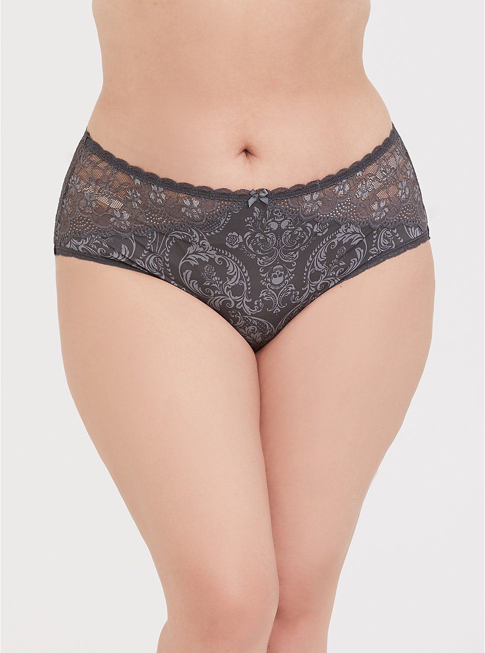 Plus Size Dark Grey Skull Microfiber & Lace Cheeky Panty, DAMASK-GREY, hi-res