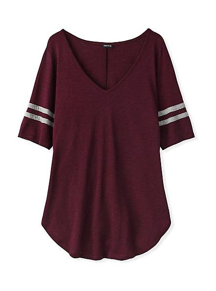 Slim Fit V-Neck Tunic Tee - Heritage Slub Varsity Stripes Burgundy Purple, WINETASTING, hi-res