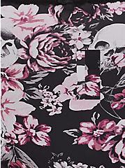 Black Lace & Skull Floral Microfiber Hipster Panty, FLORALS-BLACK, alternate