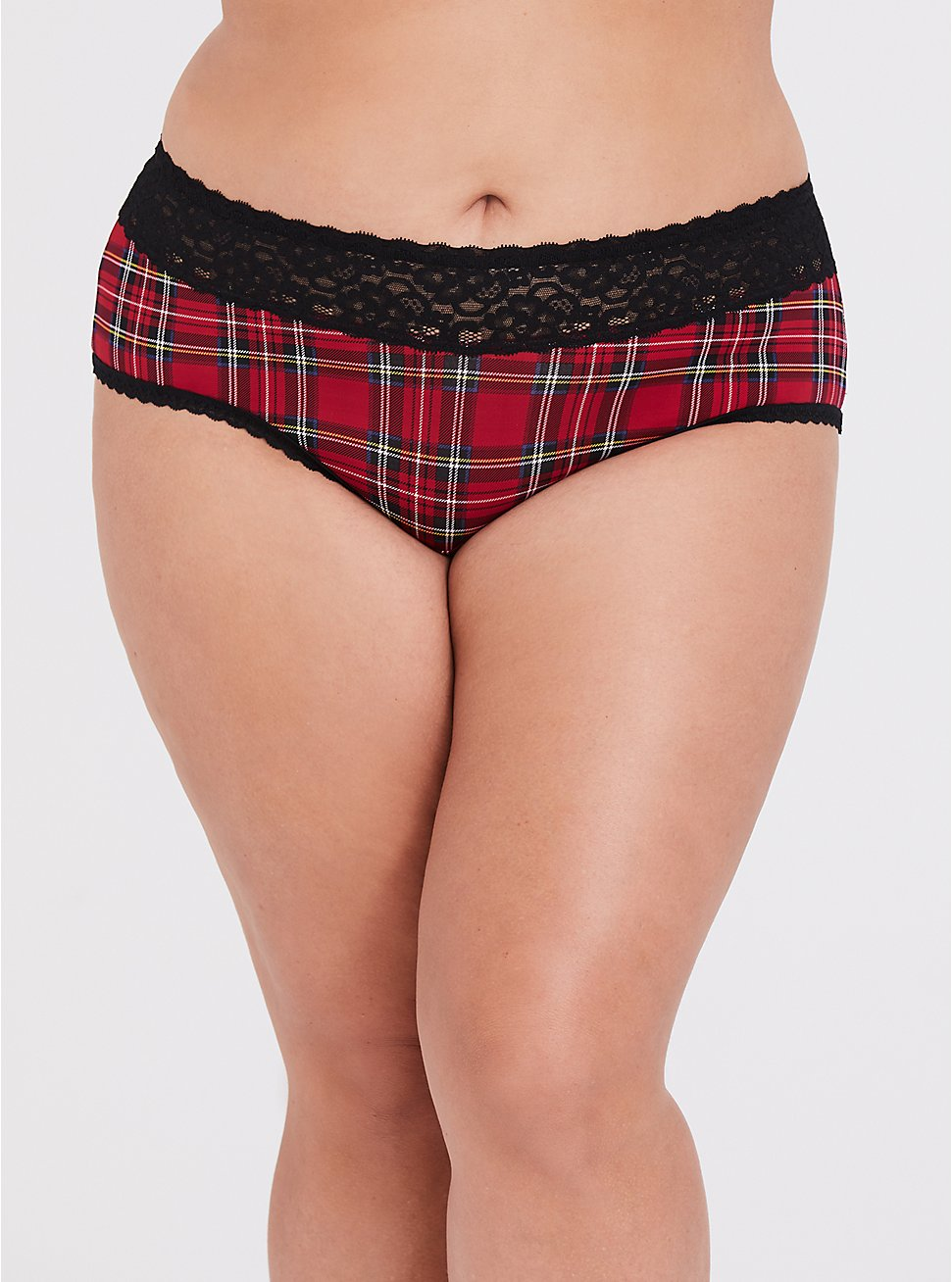 Plus Size Red Plaid & Black Wide Lace Shine Cheeky Panty, PLAID-RED, hi-res