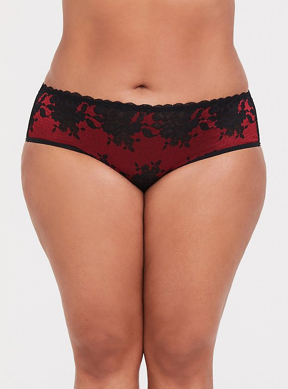 Plus Size Red & Black Lace Caged Hipster Panty, , hi-res