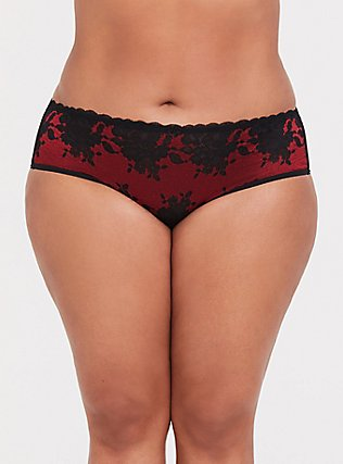 Red & Black Lace Cage Hipster Panty, JESTER RED, hi-res
