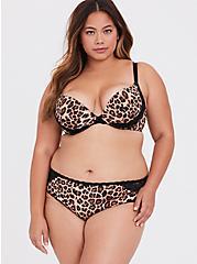 Leopard Microfiber Lace Back Hipster Panty, LEOPARD-BROWN, alternate