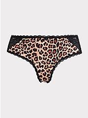 Leopard Microfiber Lace Back Hipster Panty, LEOPARD-BROWN, hi-res