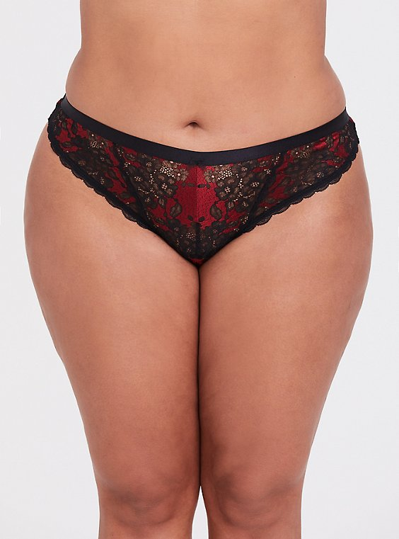 Plus Size Red & Black Lace Thong Panty, , hi-res