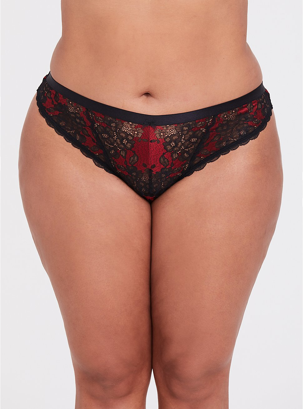 Red & Black Lace Thong Panty, JESTER RED, hi-res