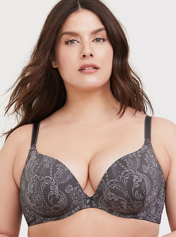 Dark Grey Skull 360° Back Smoothing™ Push-Up Plunge Bra, , hi-res