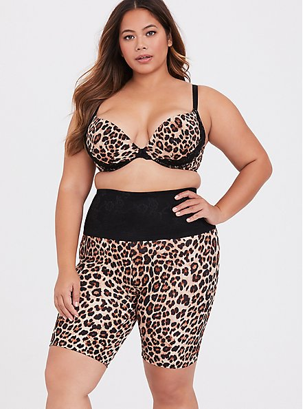 Leopard Microfiber & Black Lace Push-Up Plunge Bra, LEOPARD, alternate