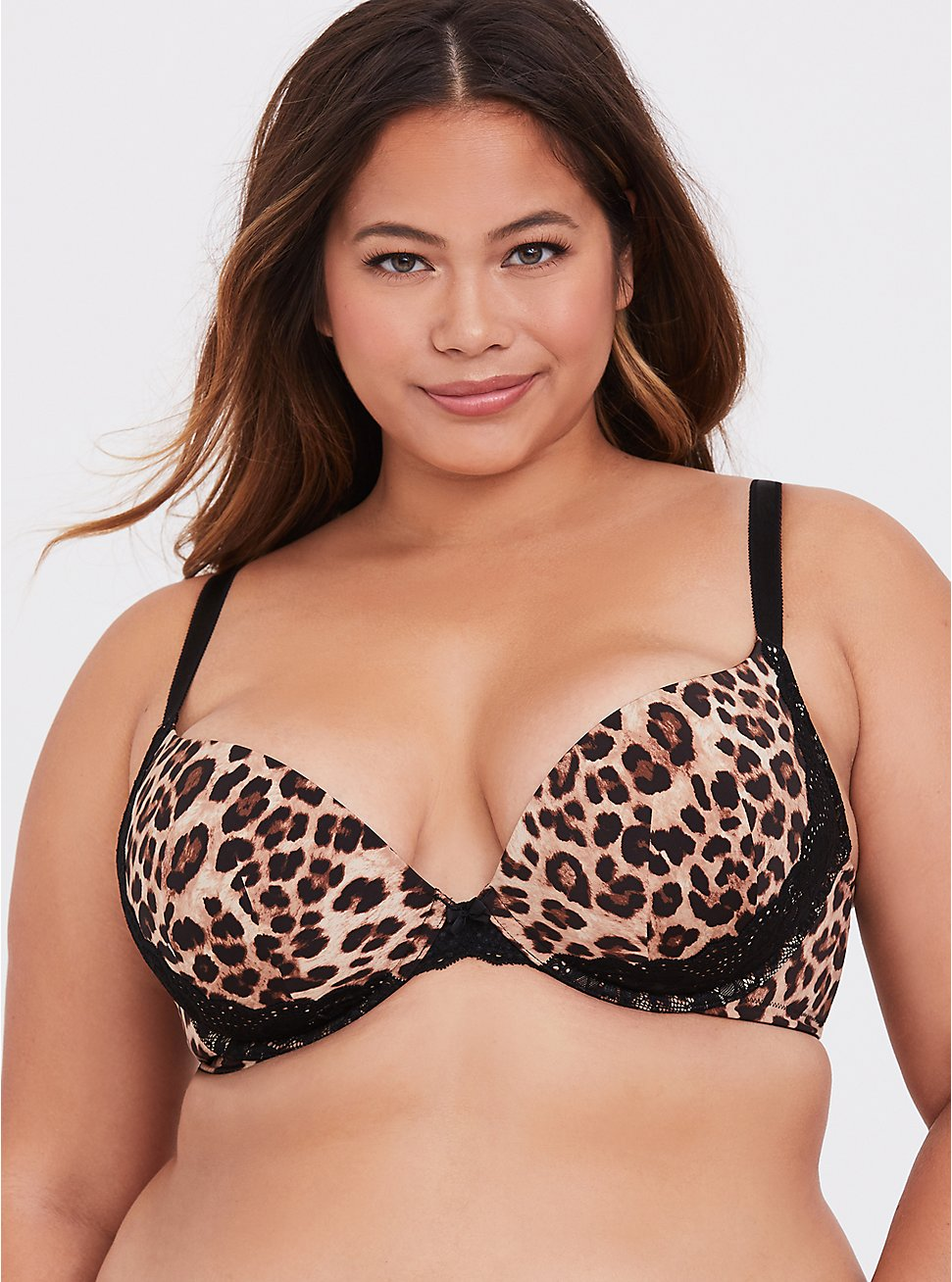 Leopard Microfiber & Black Lace Push-Up Plunge Bra, LEOPARD, hi-res