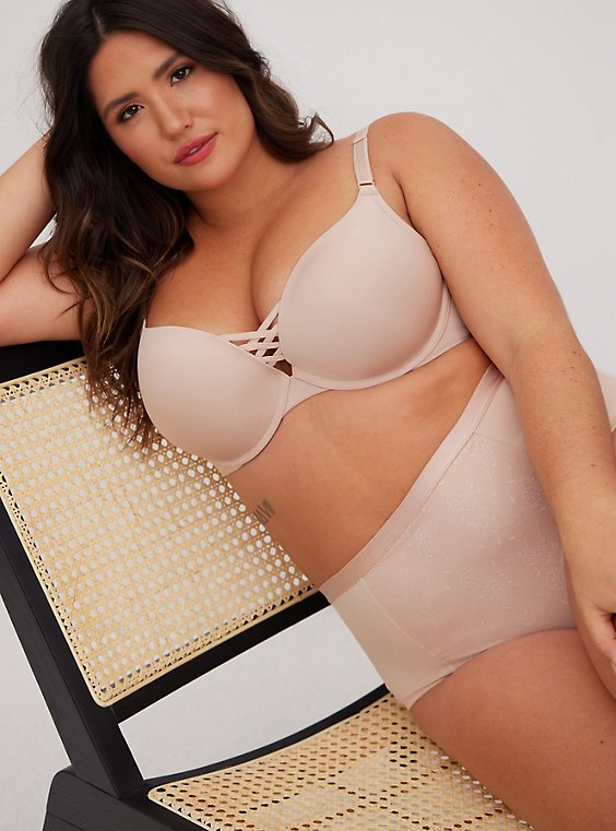 Beige Microfiber 360° Back Smoothing™ XO Push-Up Plunge Bra, ROSE DUST, hi-res