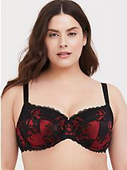 Red & Black Lace Unlined Full Coverage Bra, JESTER RED WITH BLACK, hi-res