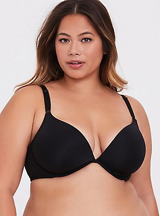 Black Microfiber 360° Back Smoothing™ Lightly Lined Plunge Bra, RICH BLACK, hi-res