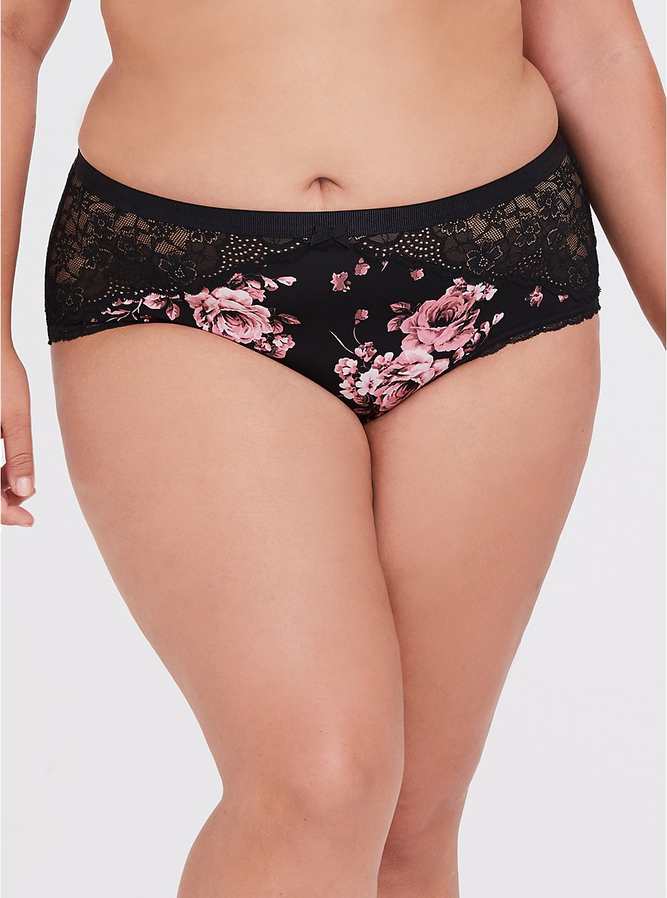 Breast Cancer Awareness - Floral Microfiber & Lace Cheeky Panty, FLORALS-BLACK, hi-res