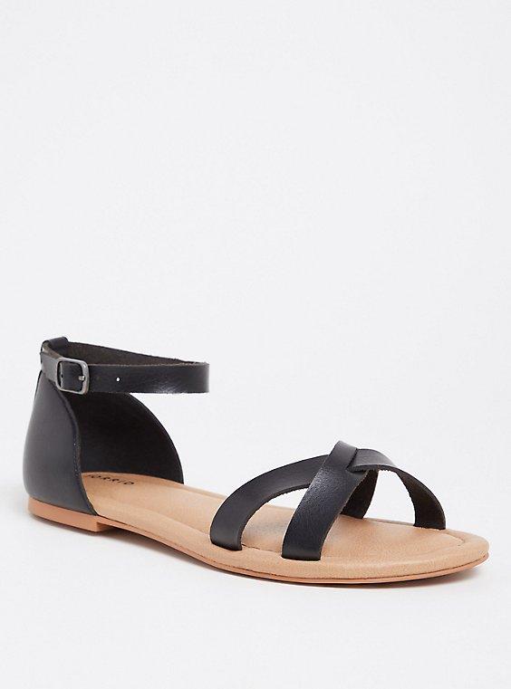 Black Faux Leather Crisscross Sandal (WW), , hi-res