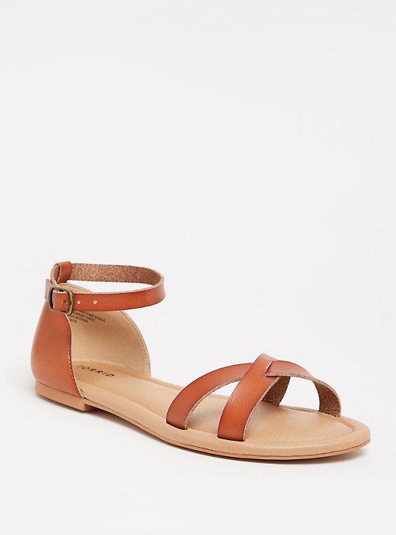 Cognac Faux Leather Crisscross Sandal (WW), , hi-res