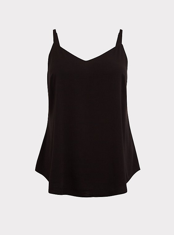 Plus Size Essential Black Stretch Challis Cami, , flat