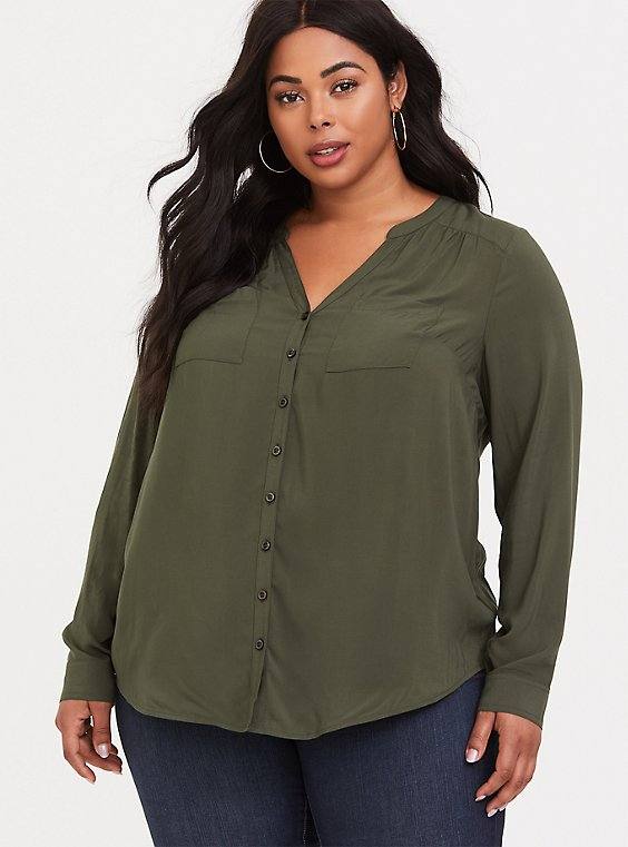 Harper - Olive Green Button Front Challis Tunic, , hi-res