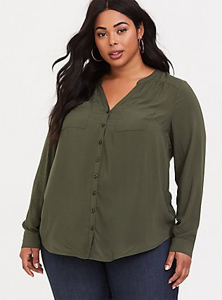 Harper - Olive Green Button Front Challis Tunic, PLAID, hi-res