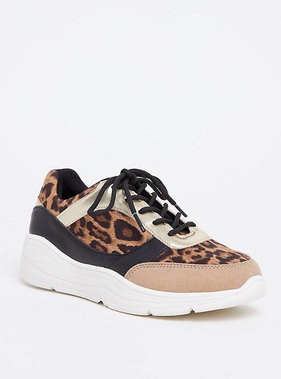 Leopard & Metallic Faux Leather Sneaker (WW), , hi-res