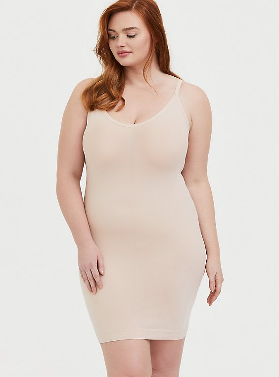 Plus Size Beige Seamless 360°  Smoothing™ Slip Dress, , hi-res