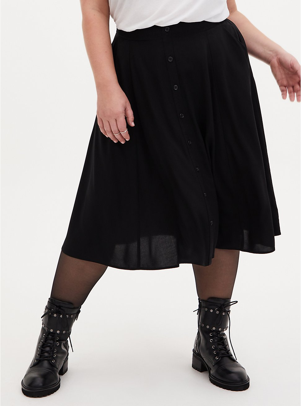 Black Button Front Challis Midi Skirt, DEEP BLACK, hi-res