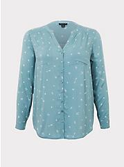 Harper - Teal Arrows Button Front Challis Tunic, MACAROONS - GREY, hi-res