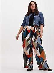 Plus Size Multi Geo Gauze Self Tie Wide Leg Pant, GEOMETRIC, alternate
