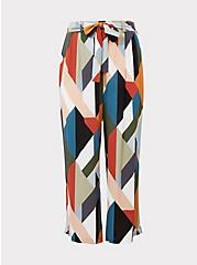 Plus Size Multi Geo Gauze Self Tie Wide Leg Pant, GEOMETRIC, hi-res