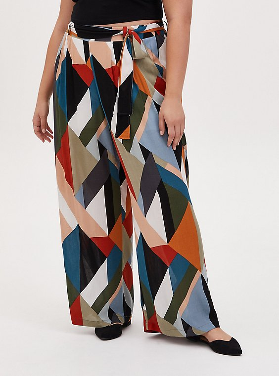 Multi Geo Gauze Self Tie Wide Leg Pant, , hi-res