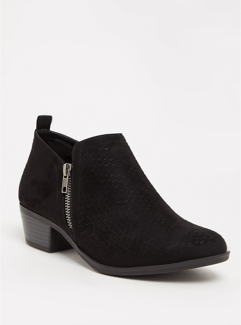 Black Perforated Ankle Boot (WW), BLACK, hi-res
