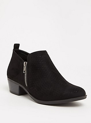Plus Size Black Perforated Ankle Boot (WW), BLACK, hi-res
