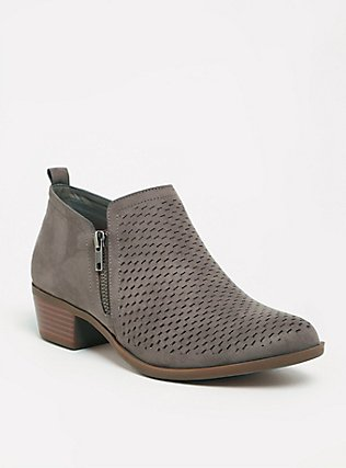 Plus Size Dark Taupe Perforated Ankle Boot (WW), TAN/BEIGE, hi-res