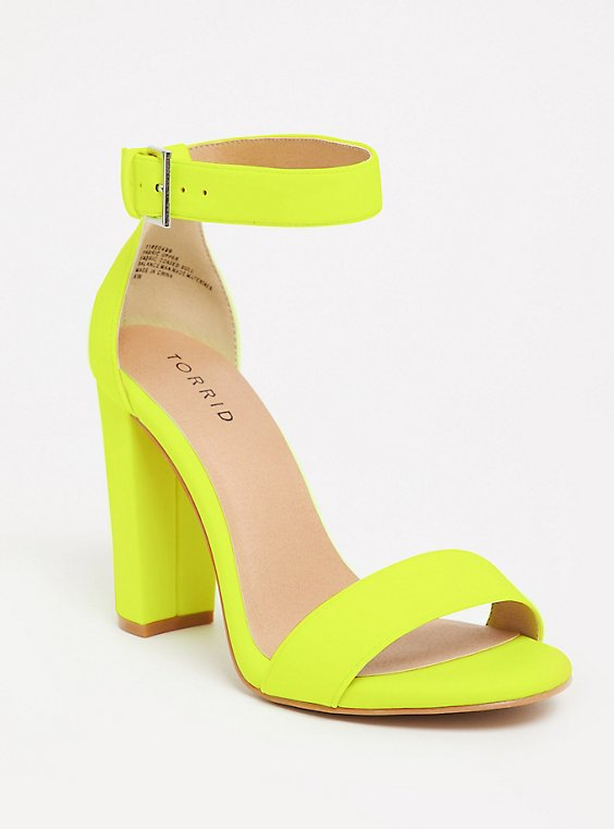 Plus Size Yellow Neon Ankle Strap Sandal (WW), , hi-res