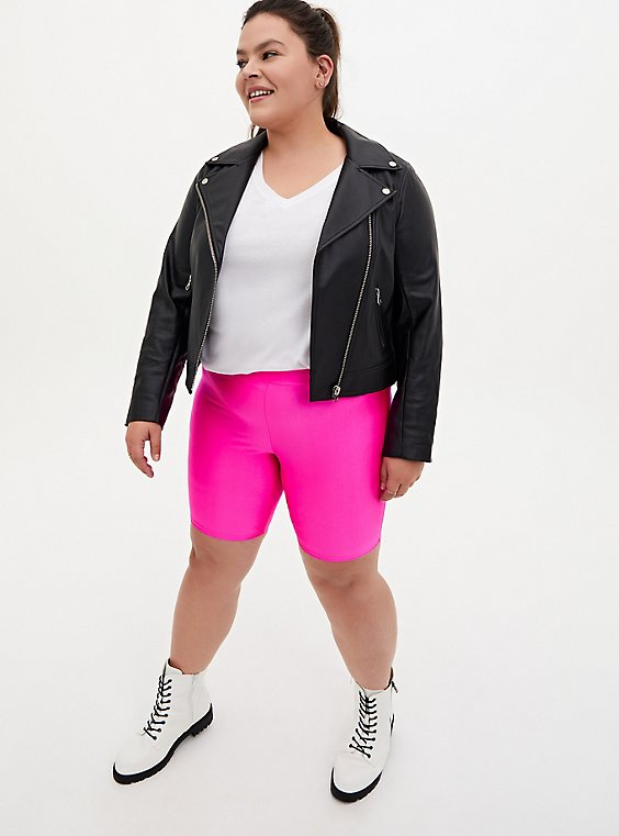 Plus Size Neon Pink Liquid Bike Short, , hi-res
