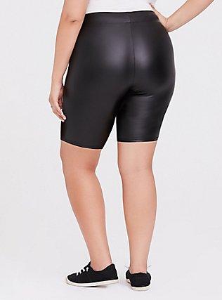 Black Faux Leather Bike Short, BLACK, alternate