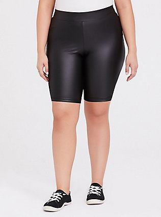 Plus Size Black Faux Leather Bike Short, BLACK, hi-res