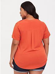 Harper - Orange Stretch Challis Pullover, ORANGE, alternate
