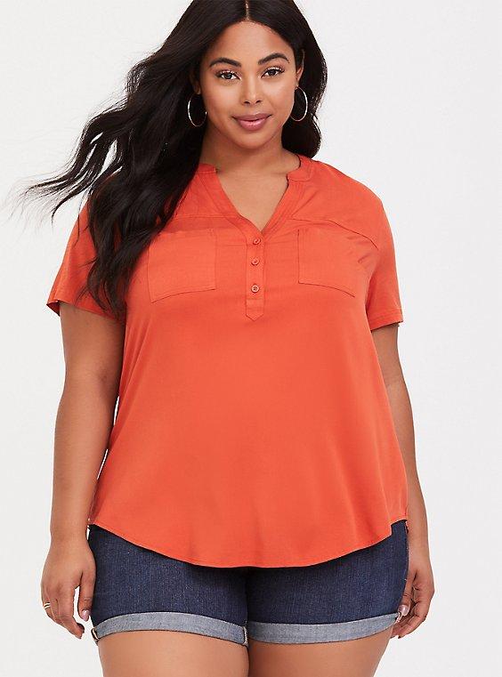 Harper - Orange Stretch Challis Pullover, , hi-res