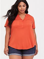 Harper - Orange Stretch Challis Pullover, ORANGE, hi-res