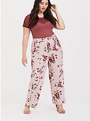 Lilac Purple Floral Crepe Wide Leg Pant, ROSEY LIGHT, alternate