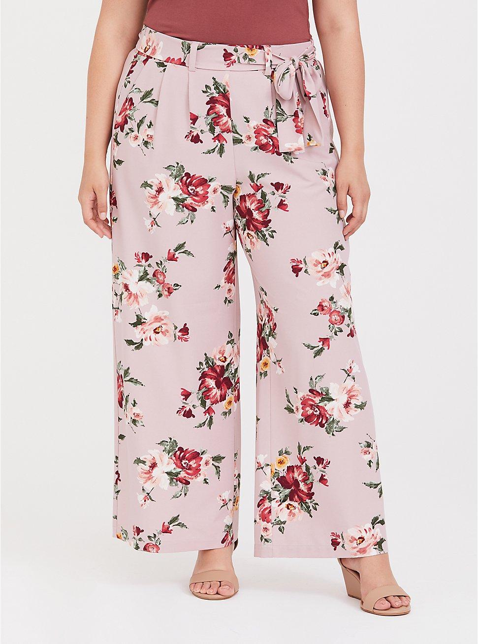 Lilac Purple Floral Crepe Wide Leg Pant, ROSEY LIGHT, hi-res
