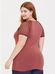 Plus Size Dark Pink Crochet Illusion Neck Foxy Tee, APPLE BUTTER PINK, alternate