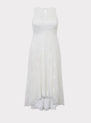 Plus Size Special Occasion Ivory Embroidered Hi-Lo Dress, CLOUD DANCER, flat