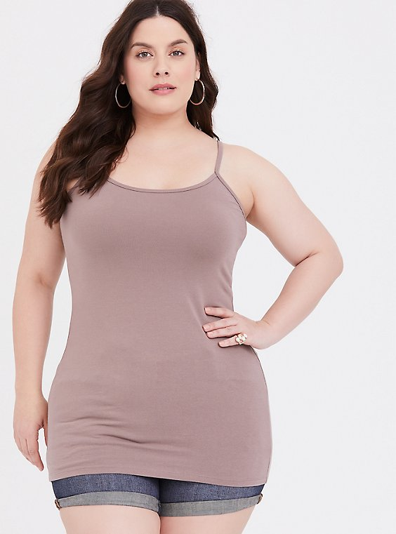 Plus Size Taupe Scoop Neck Tunic Foxy Cami, , hi-res